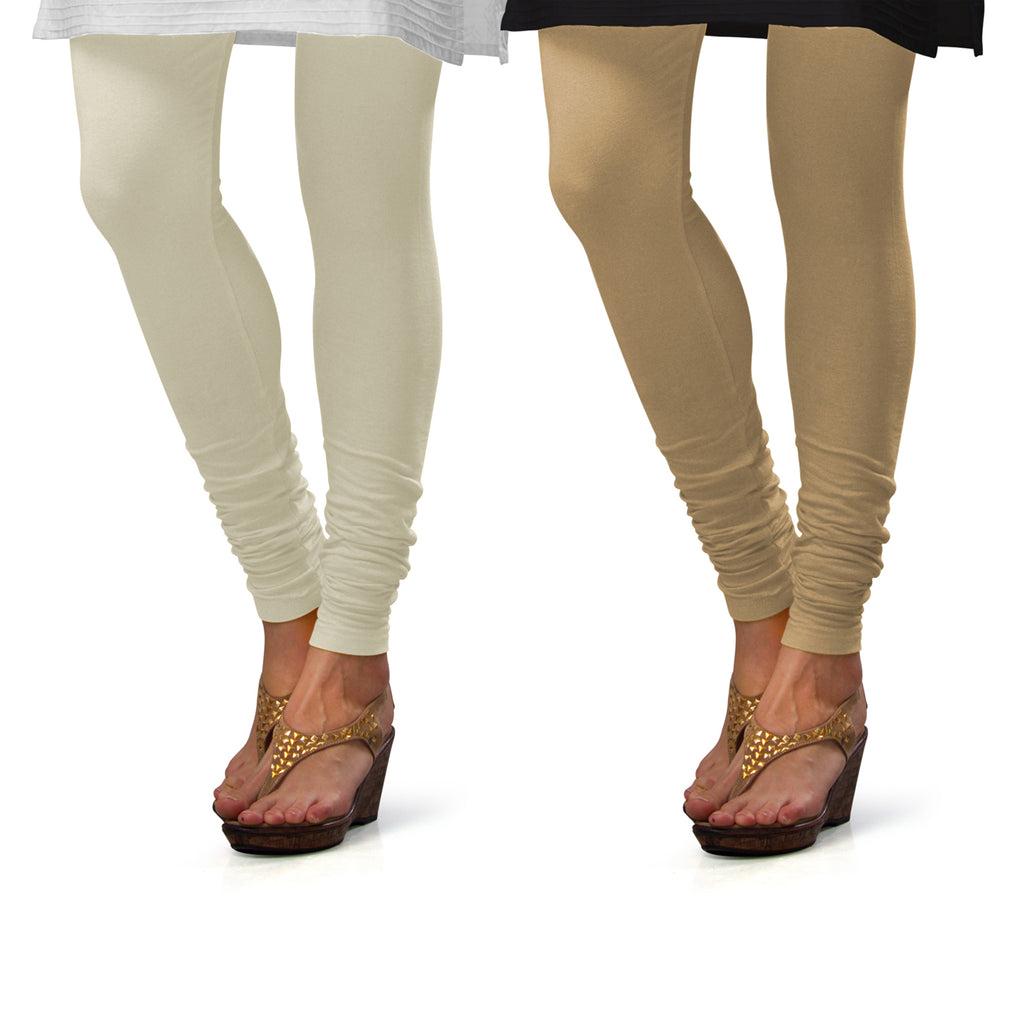 Sirtex Eazy Cotton Lycra Churidar Leggings (Pack of 2) : Off-White & Skin