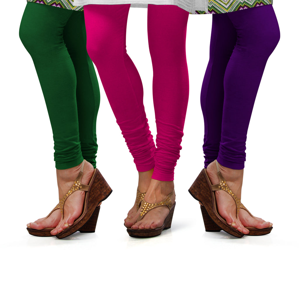 Sirtex Eazy Cotton Lycra Churidar Leggings (Pack of 3) : Pak-Green, Rani & Brinjal