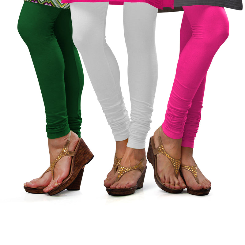 Sirtex Eazy Cotton Lycra Churidar Leggings (Pack of 3) : Pak-Green, White & Romantic Rani