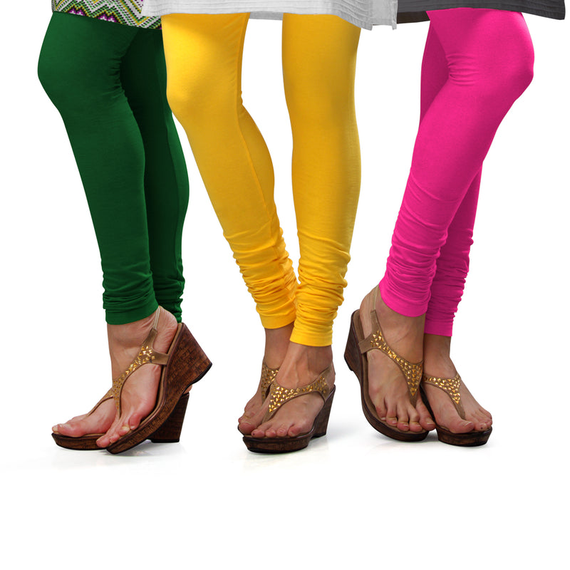 Sirtex Eazy Cotton Lycra Churidar Leggings (Pack of 3) : Pak-Green, Yellow & Romantic Rani