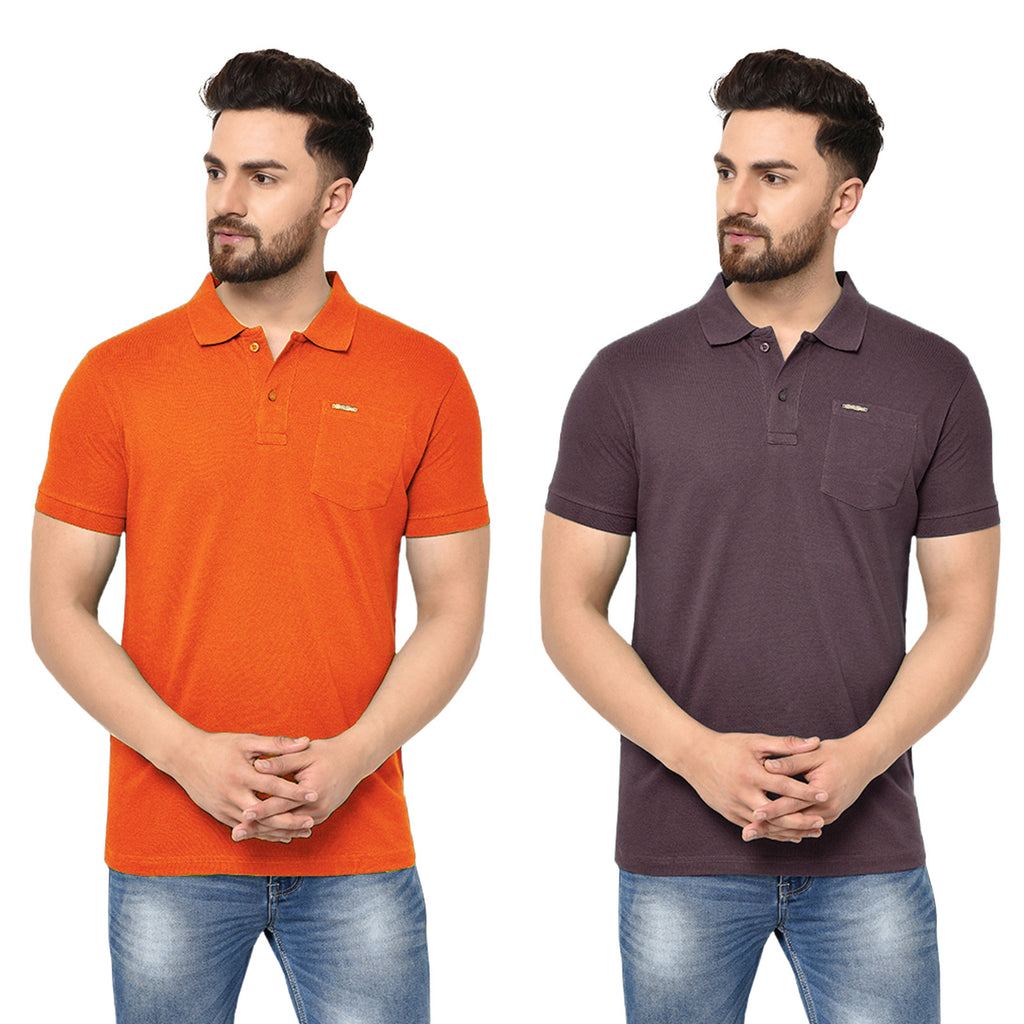 Eazy Men's Pocket Polo T-shirt ( Pack of 2) - Papaya Orange & Grindle Maroon