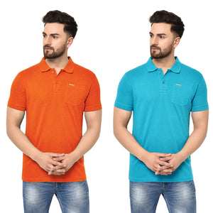 Eazy Men's Pocket Polo T-shirt ( Pack of 2) - Papaya Orange & Ocean Blue