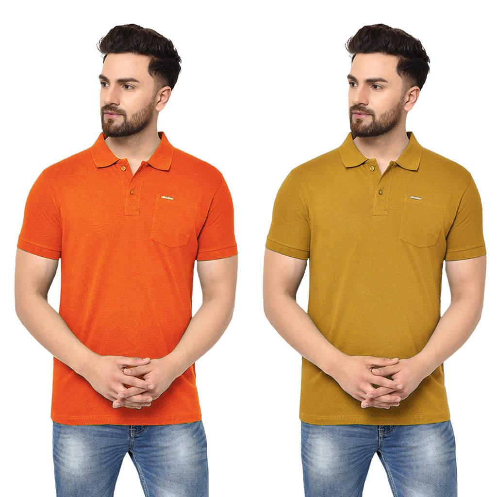 Eazy Men's Pocket Polo T-shirt ( Pack of 2) - Papaya Orange & Vibrant Mustard