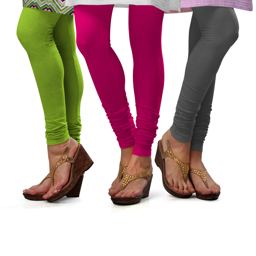 Sirtex Eazy Cotton Lycra Churidar Leggings (Pack of 3) : Parrot Green, Rani & Steel Grey