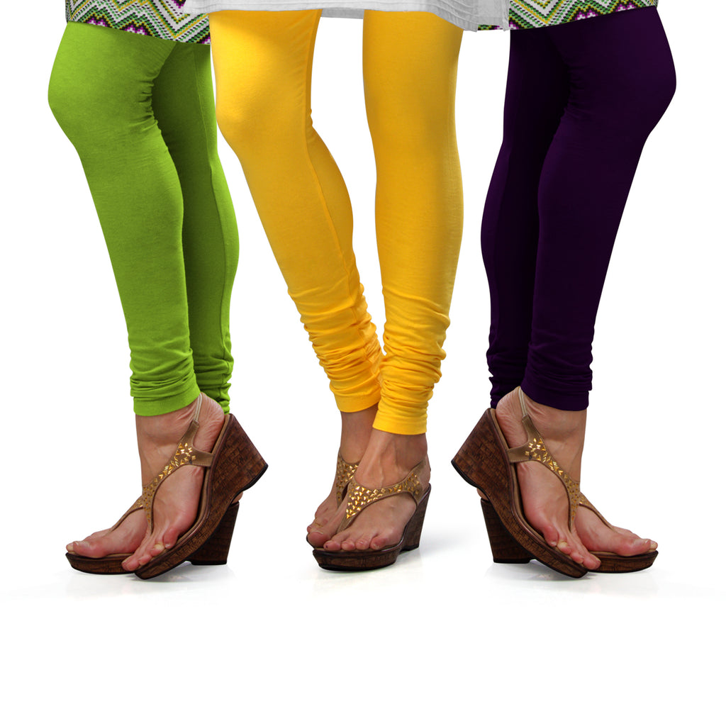 Sirtex Eazy Cotton Lycra Churidar Leggings (Pack of 3) : Parrot Green, Yellow & M Purple