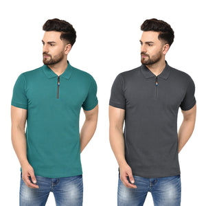 Eazy Men's Zipper Polo T-shirt ( Pack of 2) - Pepper Green & Grindle Black