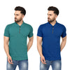 Eazy Men's Zipper Polo T-shirt ( Pack of 2) - Pepper Green & Royal Blue