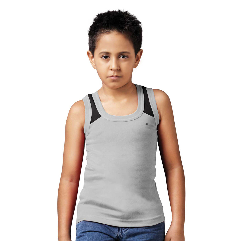 Sirtex Eazy Racer Boys Junior Gym Vest (Pack of 3) : Grey Melange, Red & White - RACER-BOY-9006