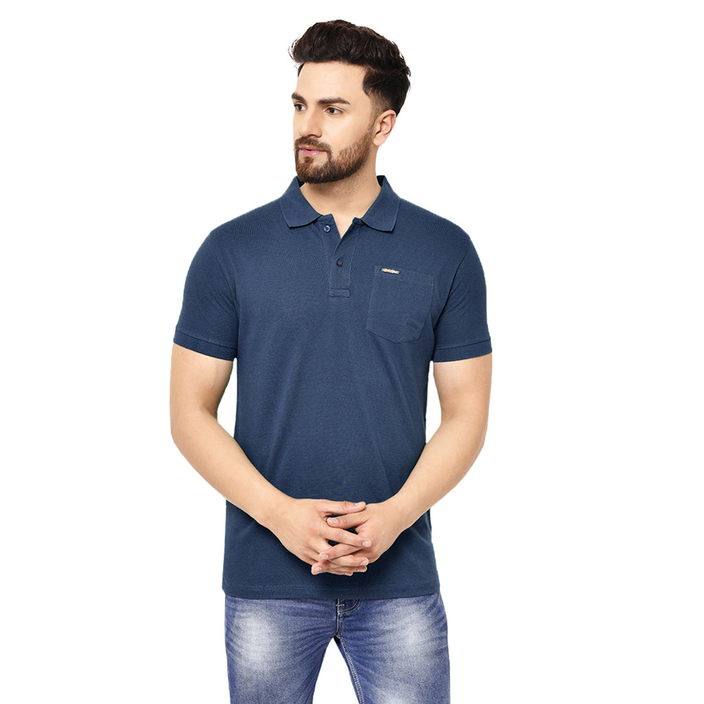 Eazy Men's Pocket Polo T-shirt ( Pack of 2) - Grindle Navy & Caviar Black