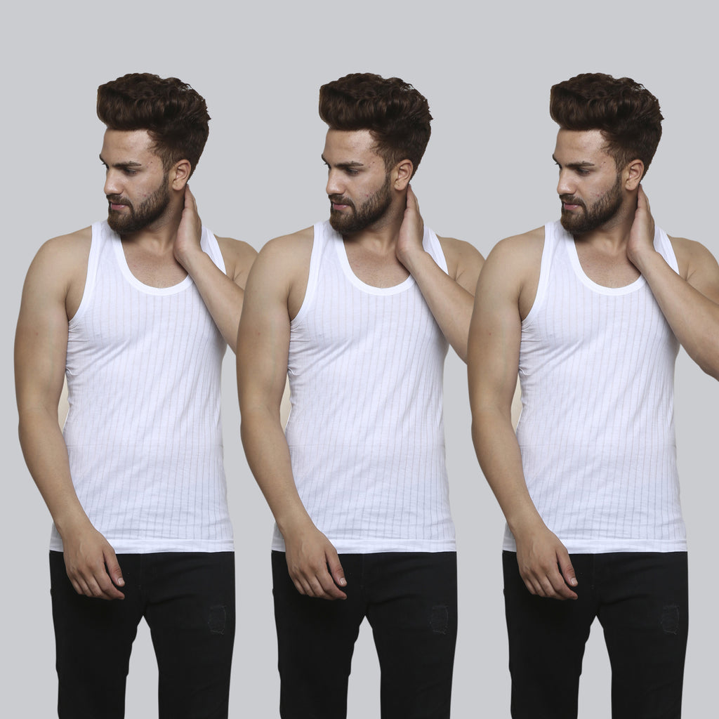 Sirtex Eazy Men's Needle Drop White Regular Vest (Pack of 3)