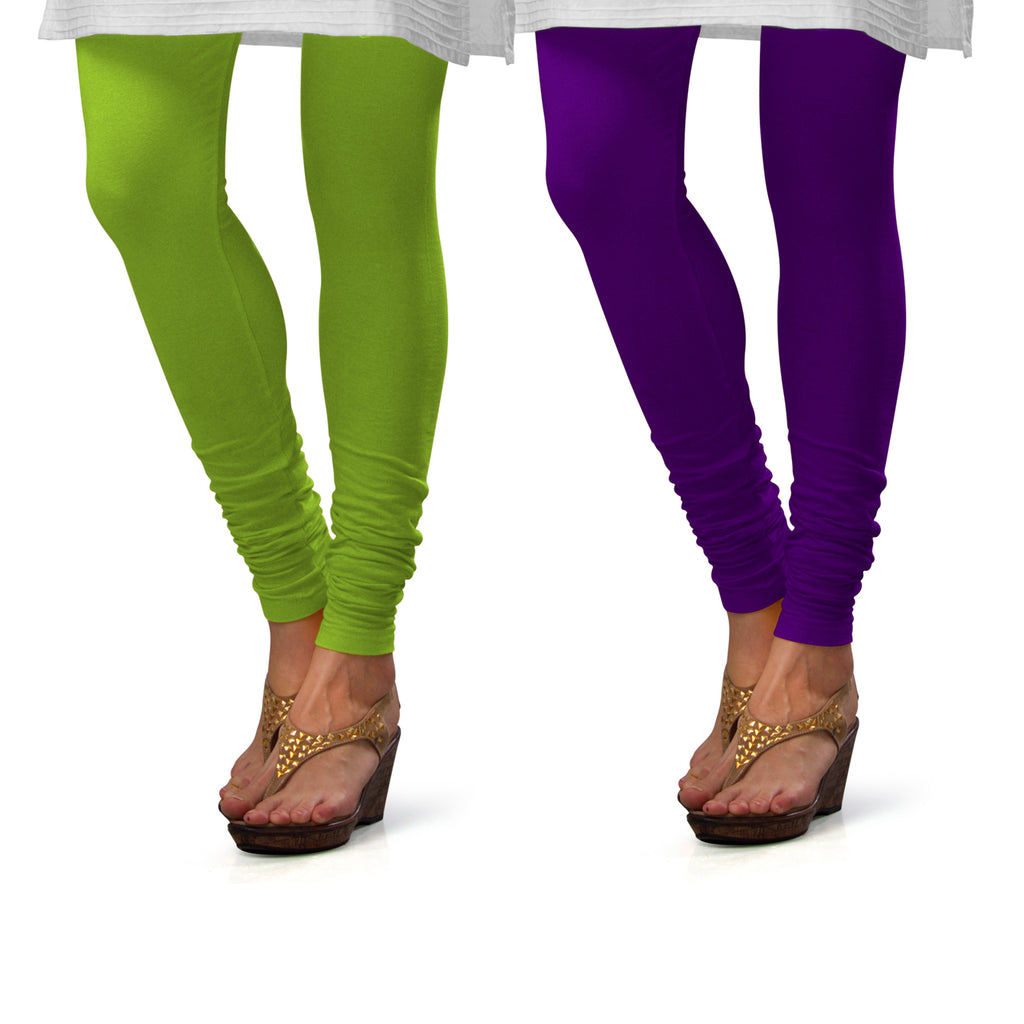 Sirtex Eazy Cotton Lycra Churidar Leggings (Pack of 2) : Parrot Green & Brinjal