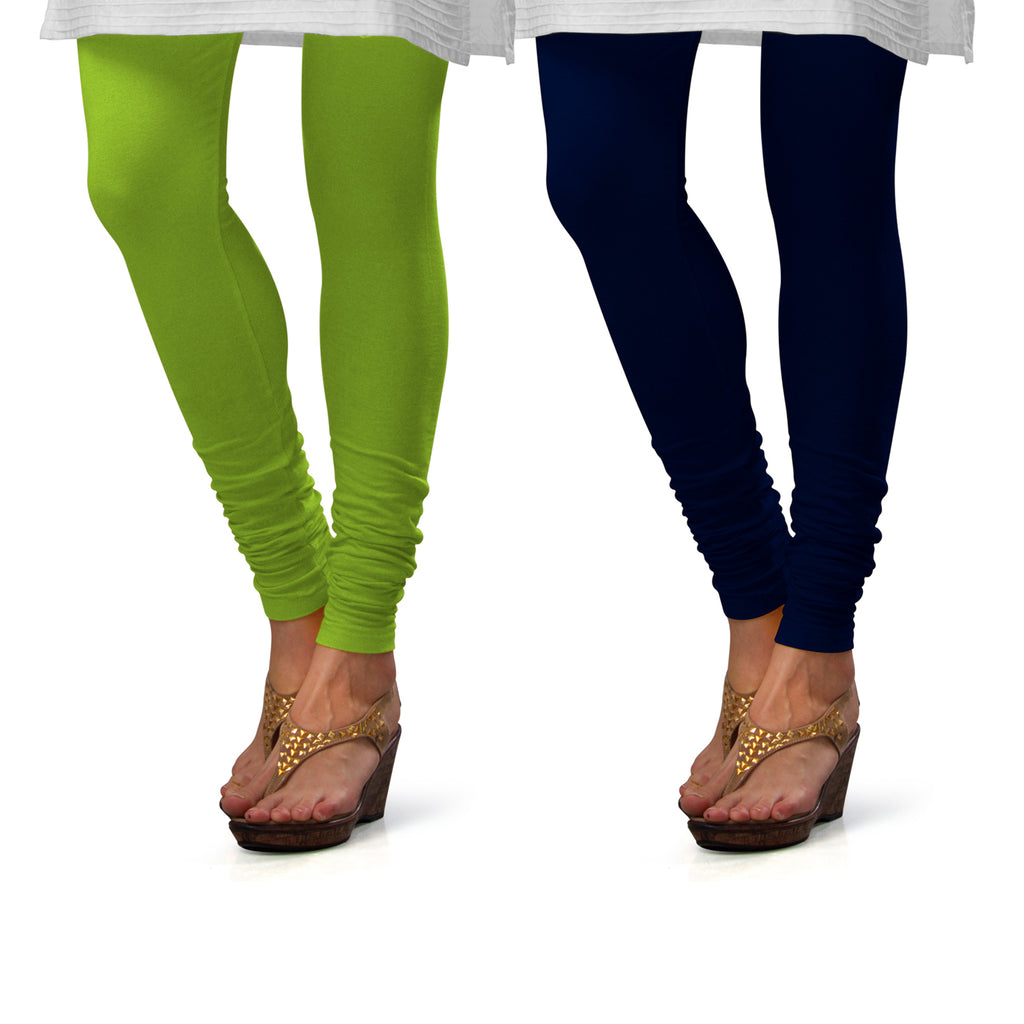 Sirtex Eazy Cotton Lycra Churidar Leggings (Pack of 2) : Parrot Green & Navy Blue