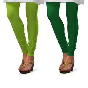 Sirtex Eazy Cotton Lycra Churidar Leggings (Pack of 2) : Parrot Green & Pak-Green