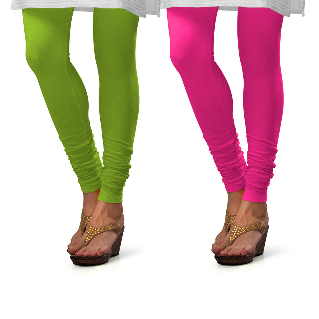 Sirtex Eazy Cotton Lycra Churidar Leggings (Pack of 2) : Parrot Green & Romantic Rani