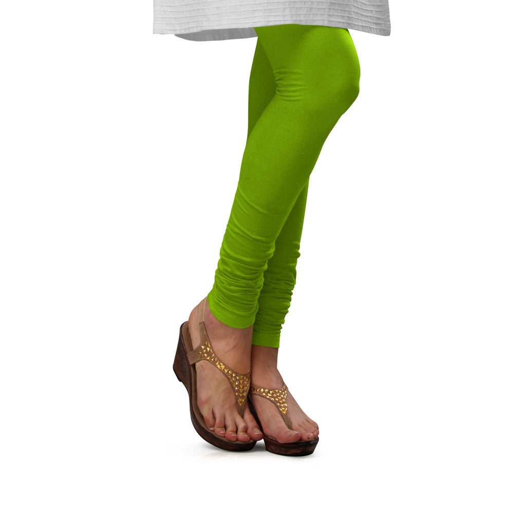 Sirtex Eazy Parrot Green Cotton Lycra Churidar Leggings