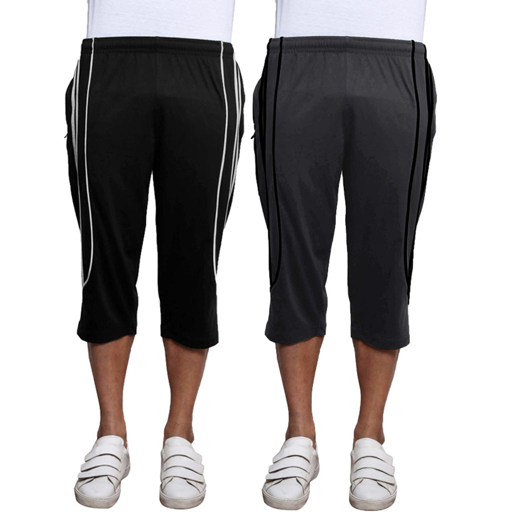 Sirtex Eazy Men's Cotton Blended Three Fourth Track Pant (Pack of 2) : Black & Steel Grey