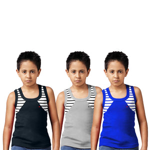 Sirtex Eazy Racer Boys Junior Gym Vest (Pack of 3) : Black, Grey Melange & Royal Blue - RACER-BOY-9001