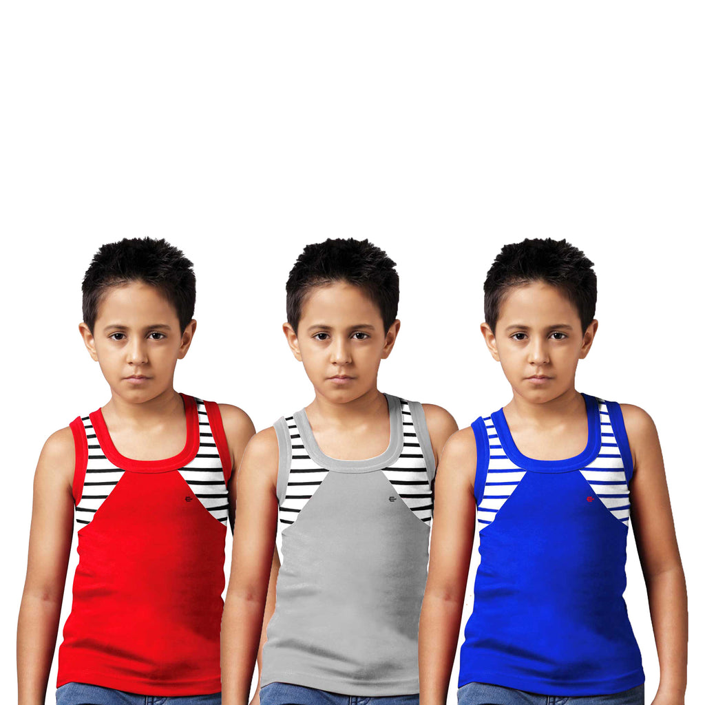 Sirtex Eazy Racer Boys Junior Gym Vest (Pack of 3) : Red, Grey Melange & Royal Blue - RACER-BOY-9001