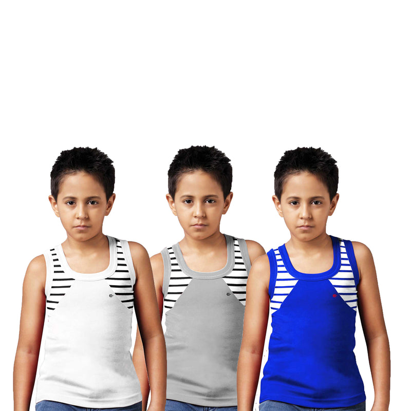 Sirtex Eazy Racer Boys Junior Gym Vest (Pack of 3) : White, Grey Melange & Royal Blue - RACER-BOY-9001