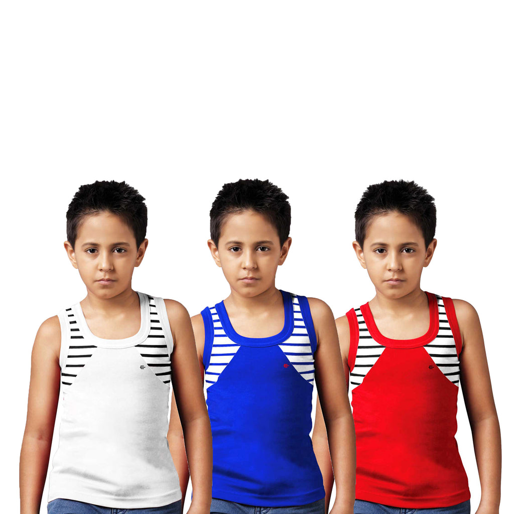Sirtex Eazy Racer Boys Junior Gym Vest (Pack of 3) : White, Royal Blue & Red - RACER-BOY-9001