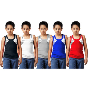 Sirtex Eazy Racer Boys Junior Gym Vest (Pack of 5) : Black, White, Grey Melange, Royal Blue & Red - RACER-BOY-9001
