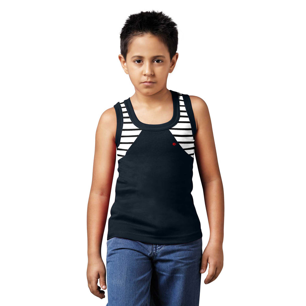 Sirtex Eazy Racer Boys Junior Gym Vest (Pack of 4) : Black, White, Grey Melange & Royal Blue - RACER-BOY-9001
