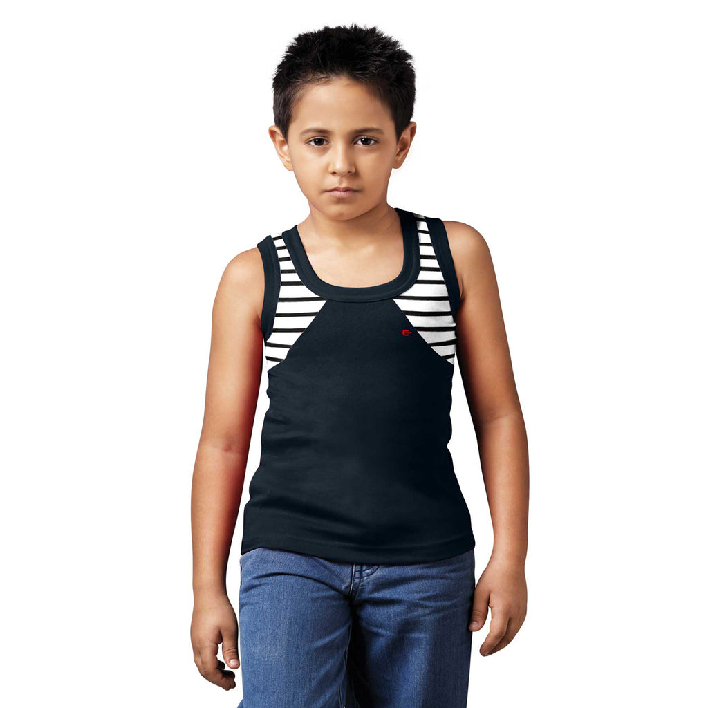 Sirtex Eazy Racer Boys Junior Gym Vest (Pack of 4) : Black, White, Grey Melange & Red - RACER-BOY-9001