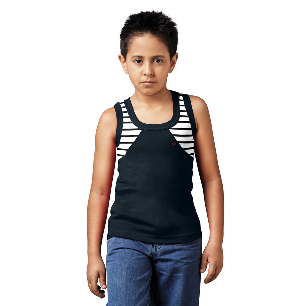 Sirtex Eazy Racer Boys Junior Gym Vest (Pack of 4) : Black, Grey Melange, Royal Blue & Red - RACER-BOY-9001