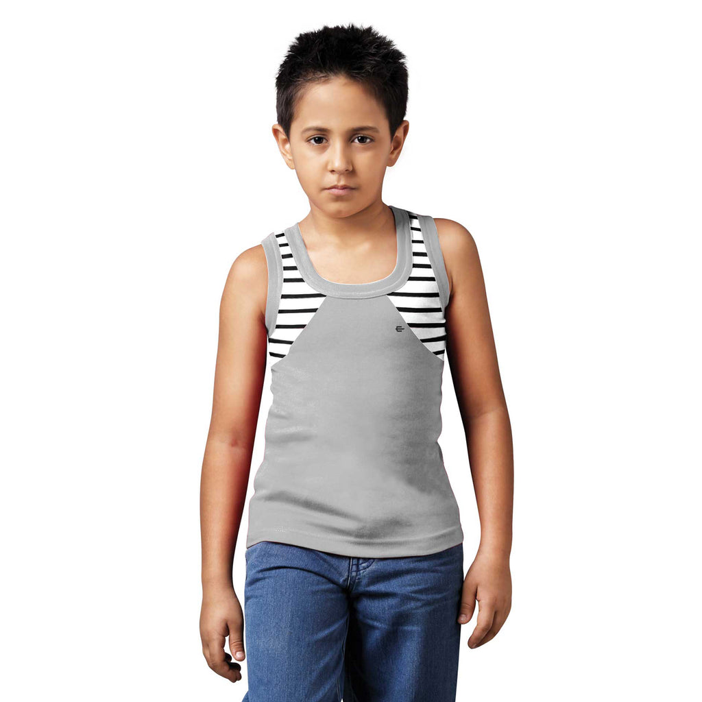 Sirtex Eazy Racer Boys Junior Gym Vest (Pack of 3) : White, Grey Melange & Red - RACER-BOY-9001