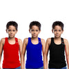 Sirtex Eazy Racer Boys Junior Gym Vest (Pack of 3) : Red, Royal Blue & Black - RACER-BOY-9003