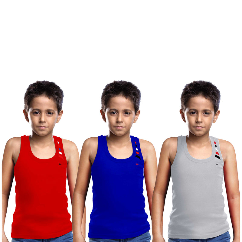 Sirtex Eazy Racer Boys Junior Gym Vest (Pack of 3) : Red, Royal Blue & Grey Melange - RACER-BOY-9003