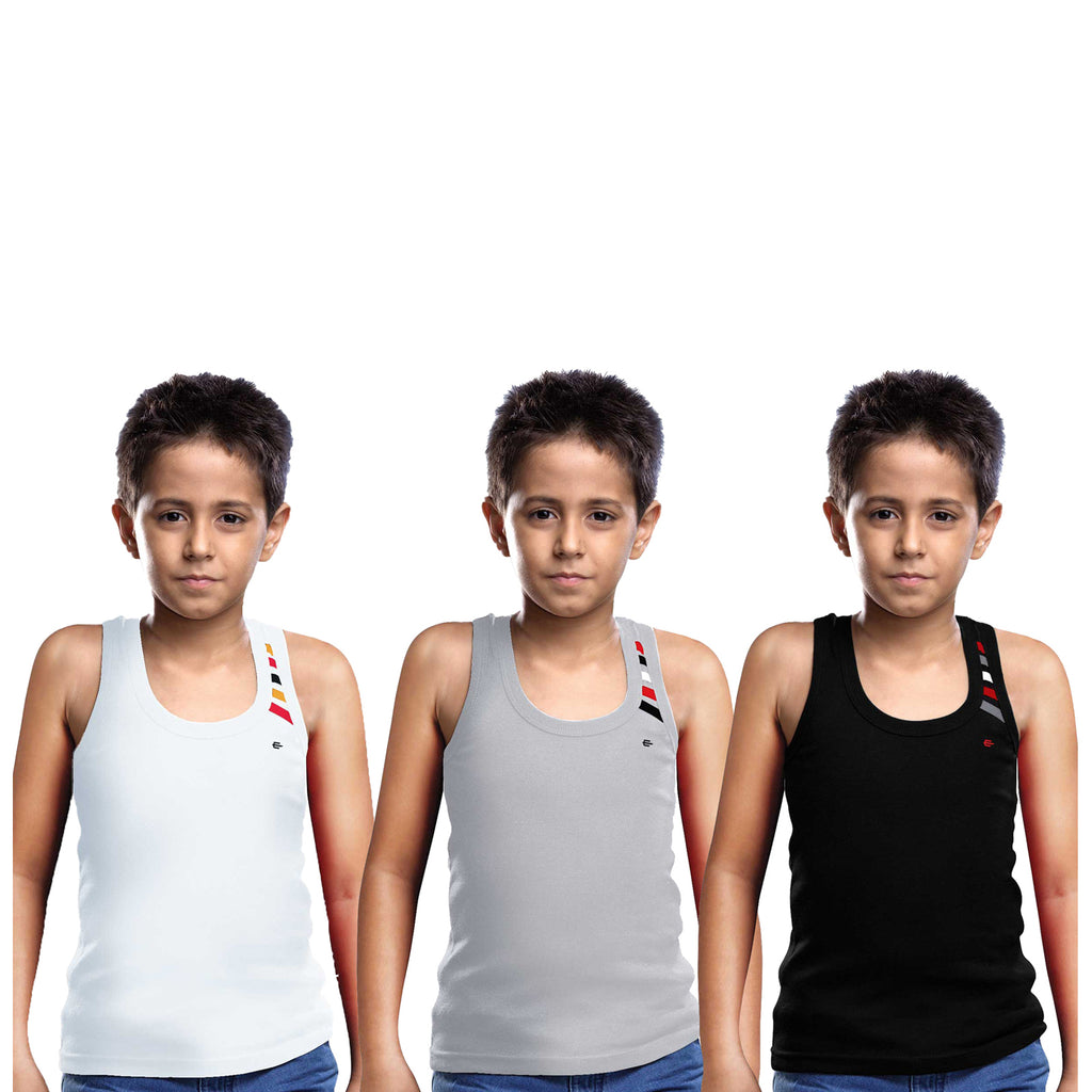 Sirtex Eazy Racer Boys Junior Gym Vest (Pack of 3) : White, Grey Melange & Black - RACER-BOY-9003