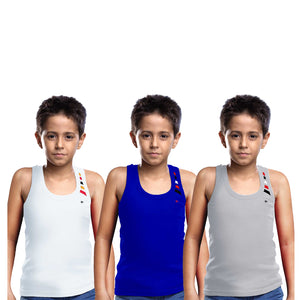 Sirtex Eazy Racer Boys Junior Gym Vest (Pack of 3) : White, Royal Blue & Grey Melange - RACER-BOY-9003