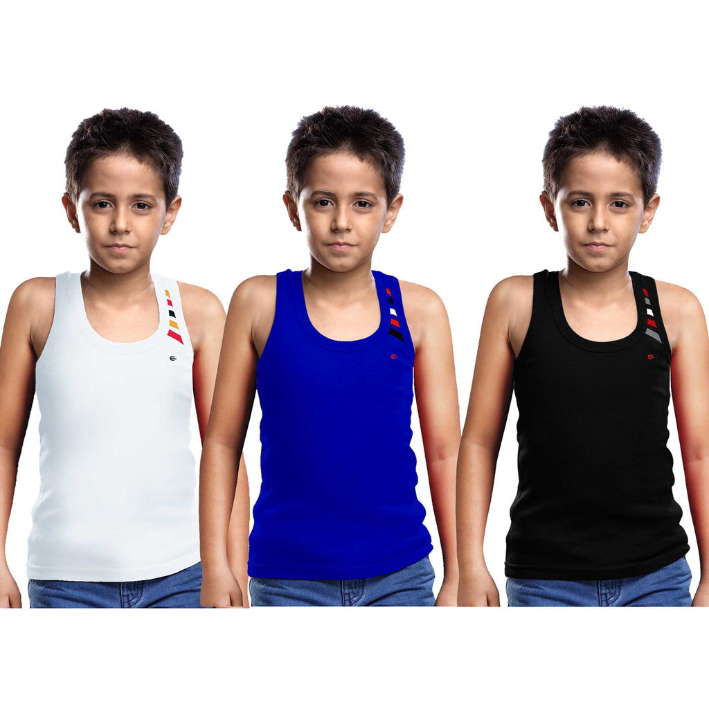 Sirtex Eazy Racer Boys Junior Gym Vest (Pack of 3) : White, Royal Blue & Black - RACER-BOY-9003