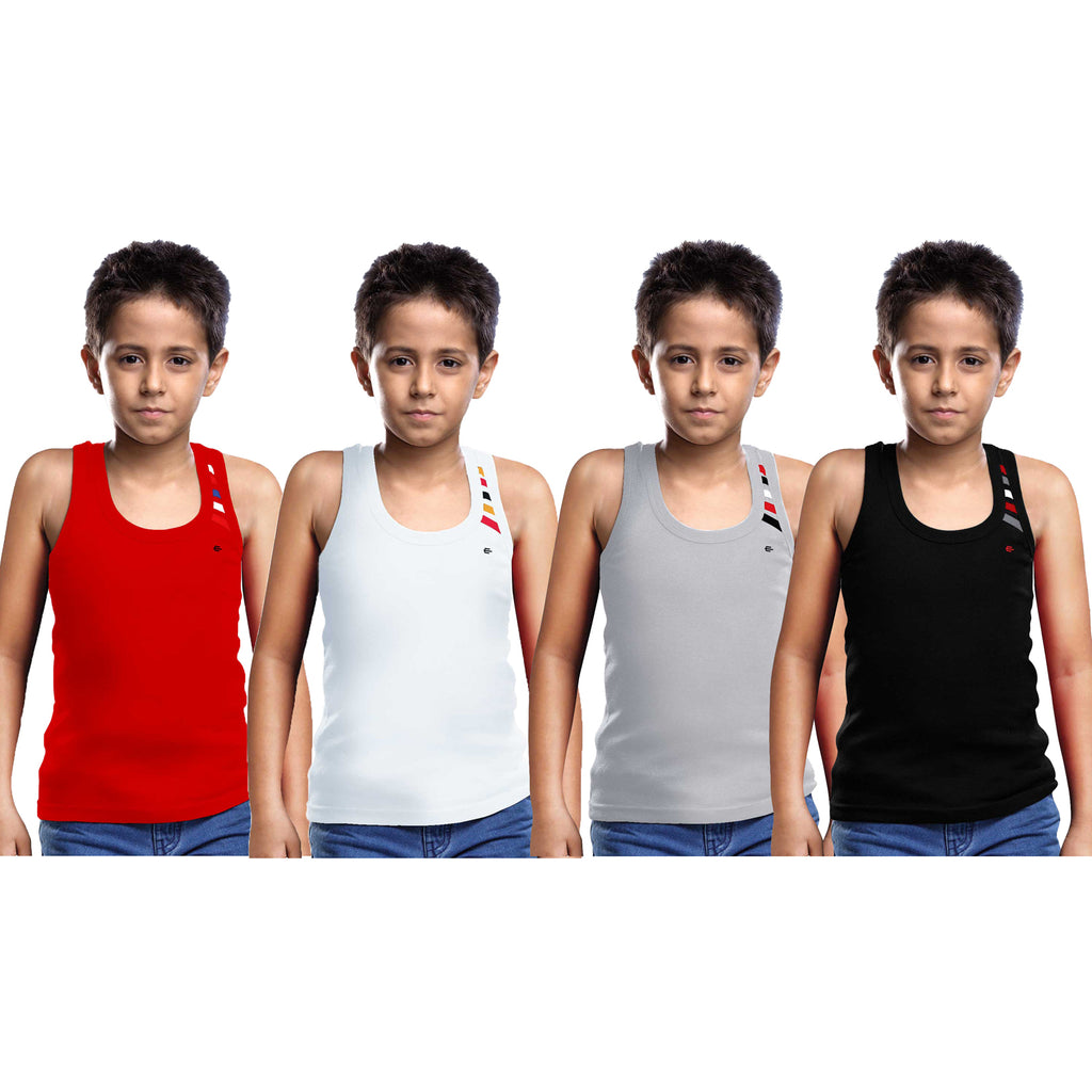 Sirtex Eazy Racer Boys Junior Gym Vest (Pack of 4) : Red, White, Grey Melange & Black - RACER-BOY-9003
