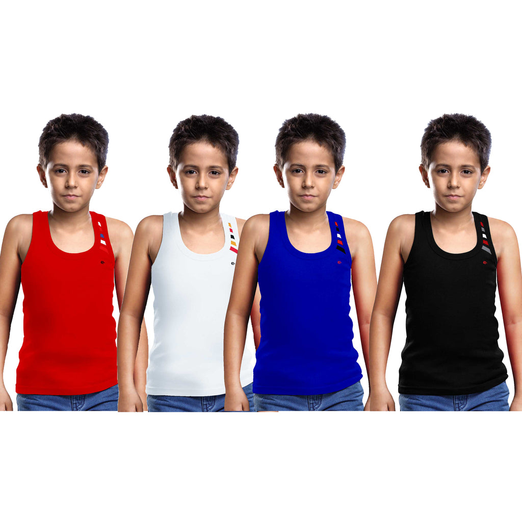 Sirtex Eazy Racer Boys Junior Gym Vest (Pack of 4) : Red, White, Royal Blue & Black - RACER-BOY-9003