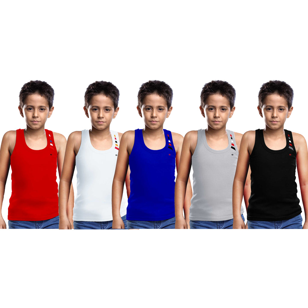 Sirtex Eazy Racer Boys Junior Gym Vest (Pack of 5) : Red, White, Royal Blue, Grey Melange & Black - RACER-BOY-9003