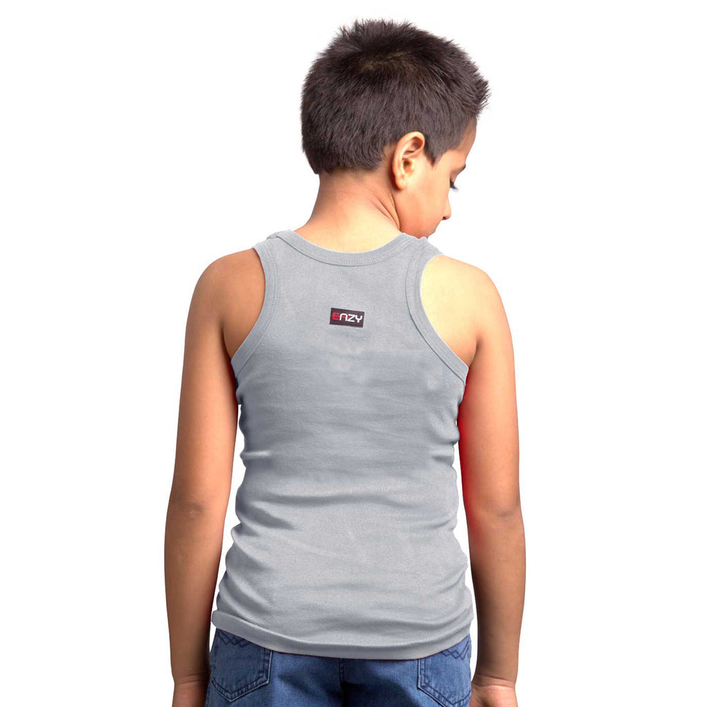 Sirtex Eazy Racer Boys Junior Gym Vest (Pack of 4) : White, Royal Blue, Grey Melange & Black - RACER-BOY-9003