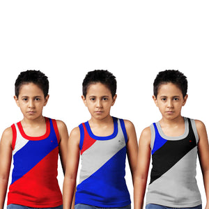Sirtex Eazy Racer Boys Junior Gym Vest (Pack of 3) : Red, Royal Blue & Grey Melange - RACER-BOY-9004