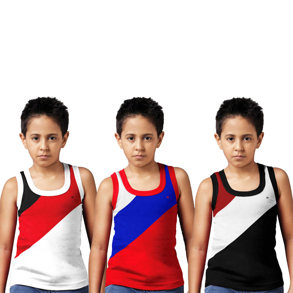 Sirtex Eazy Racer Boys Junior Gym Vest (Pack of 3) : White, Red & Black - RACER-BOY-9004