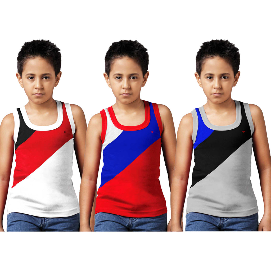 Sirtex Eazy Racer Boys Junior Gym Vest (Pack of 3) : White, Red & Grey Melange - RACER-BOY-9004
