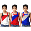 Sirtex Eazy Racer Boys Junior Gym Vest (Pack of 3) : White, Red & Royal Blue - RACER-BOY-9004
