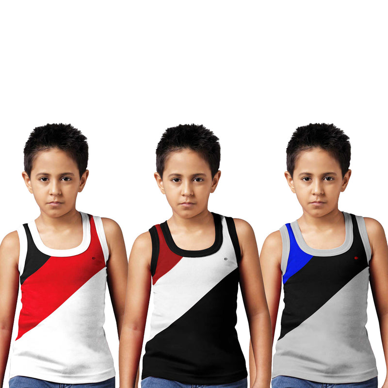 Sirtex Eazy Racer Boys Junior Gym Vest (Pack of 3) : White, Black & Grey Melange - RACER-BOY-9004