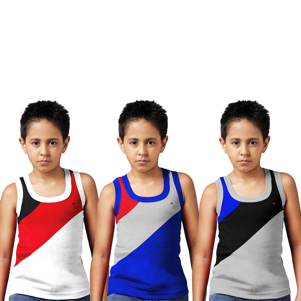 Sirtex Eazy Racer Boys Junior Gym Vest (Pack of 3) : White, Royal Blue & Grey Melange - RACER-BOY-9004