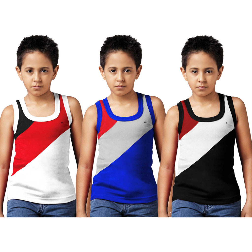 Sirtex Eazy Racer Boys Junior Gym Vest (Pack of 3) : White, Royal Blue & Black - RACER-BOY-9004