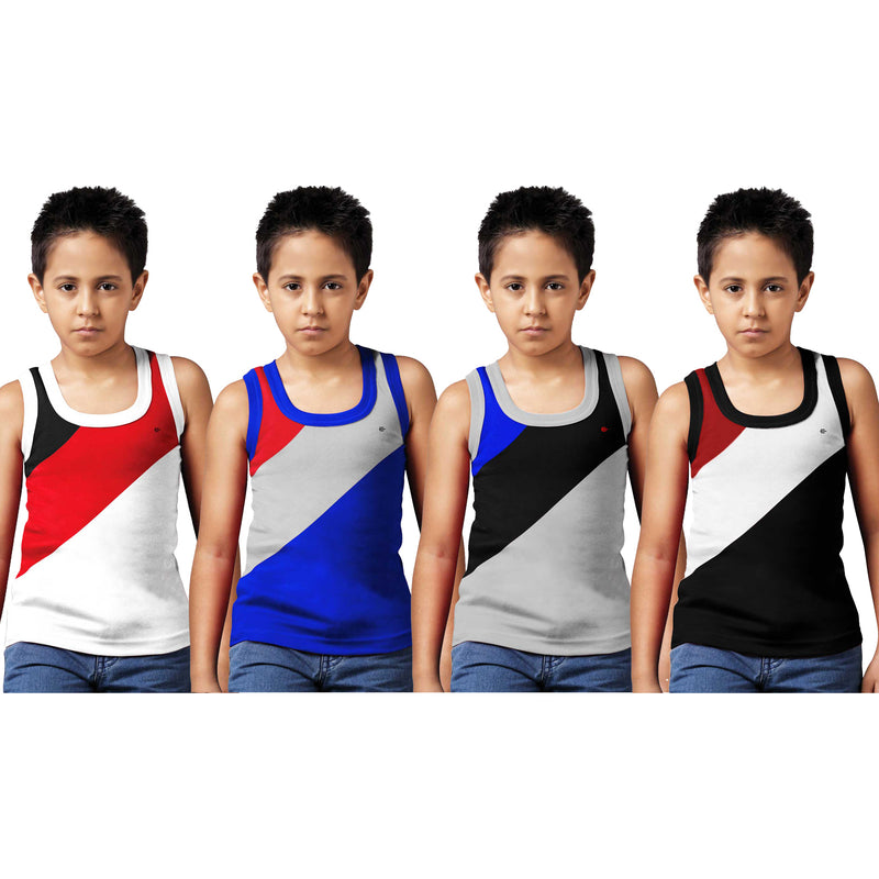 Sirtex Eazy Racer Boys Junior Gym Vest (Pack of 4) : White, Royal Blue, Grey Melange & Black - RACER-BOY-9004
