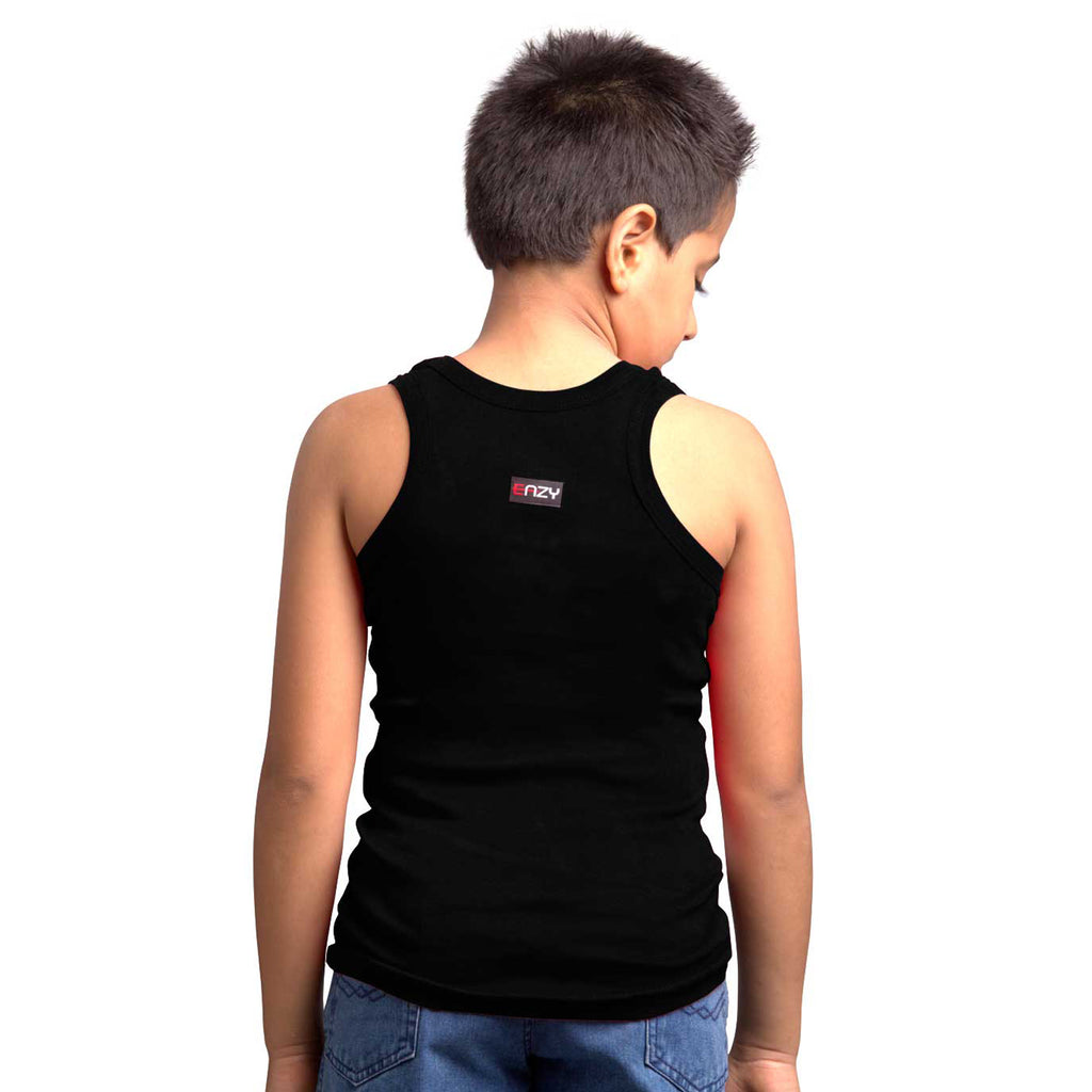Sirtex Eazy Racer Boys Junior Gym Vest (Pack of 4) : White, Red, Grey Melange & Black - RACER-BOY-9004