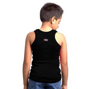 Sirtex Eazy Racer Boys Junior Gym Vest (Pack of 3) : Red, Grey Melange & Black - RACER-BOY-9004