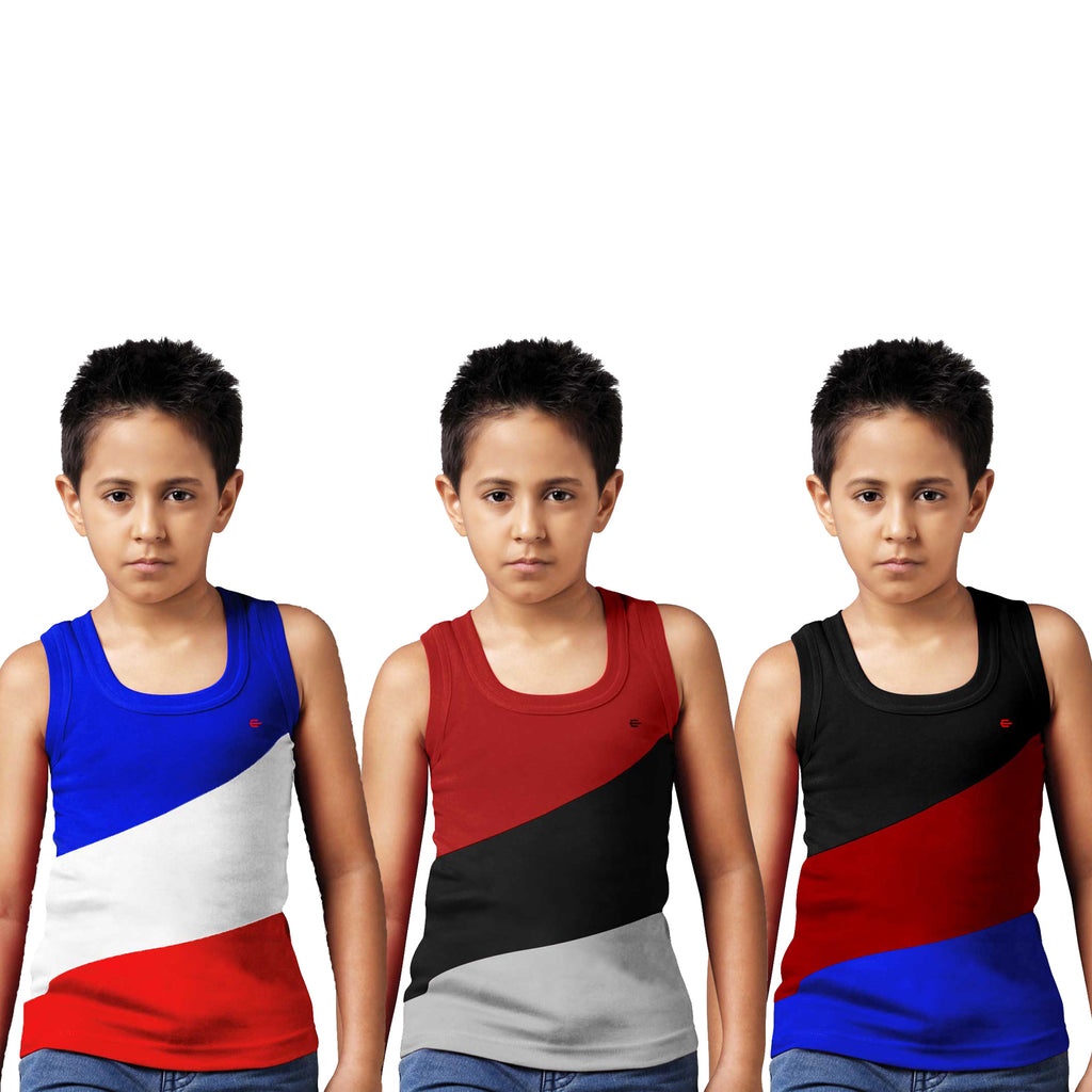Sirtex Eazy Racer Boys Junior Gym Vest (Pack of 3) : Royal Blue, Maroon & Black - RACER-BOY-9005