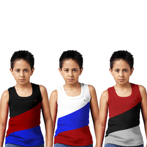 Sirtex Eazy Racer Boys Junior Gym Vest (Pack of 3) : Black, White & Maroon - RACER-BOY-9005